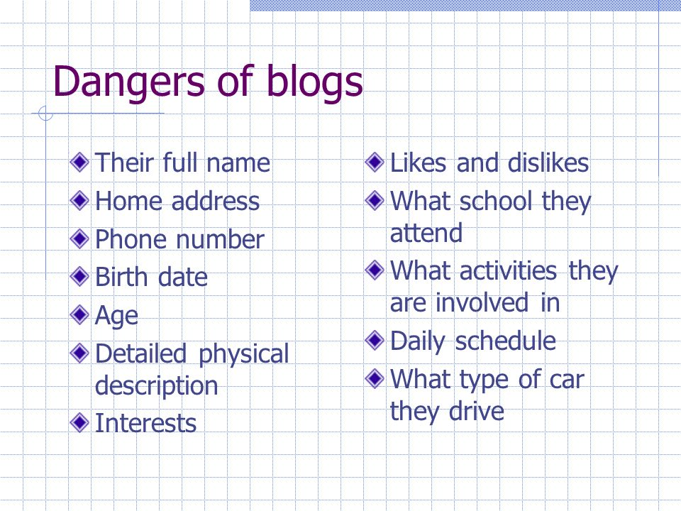 Dangers of blogs Their full name Home address Phone number Birth date Age Detailed physical description Interests Likes and dislikes What school they attend What activities they are involved in Daily schedule What type of car they drive