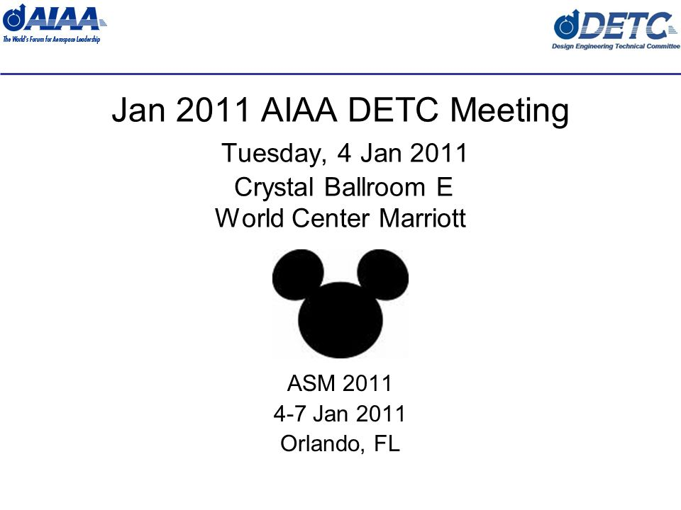 Jan 4-5, 2011 2 Agenda 1200 – 1400 Tuesday – Sub-committee meetings (Suite 22276) 1930 Tuesday Meeting Starts (Dinner) (Crystal Ballroom E) –Welcome & Introductions –Future Meeting Plans –Organization Chart –Membership –Vice-chair Elections –Treasurers Report –Paper Session Status –Liaison Reports –Publications –DETC Manual –TC Health & Status Assessment –Awards –Subcommittee Reports 2200 Tuesday – Adjourn 1200 – 1400 Wednesday – Sub-committee meetings (Suite 22276)