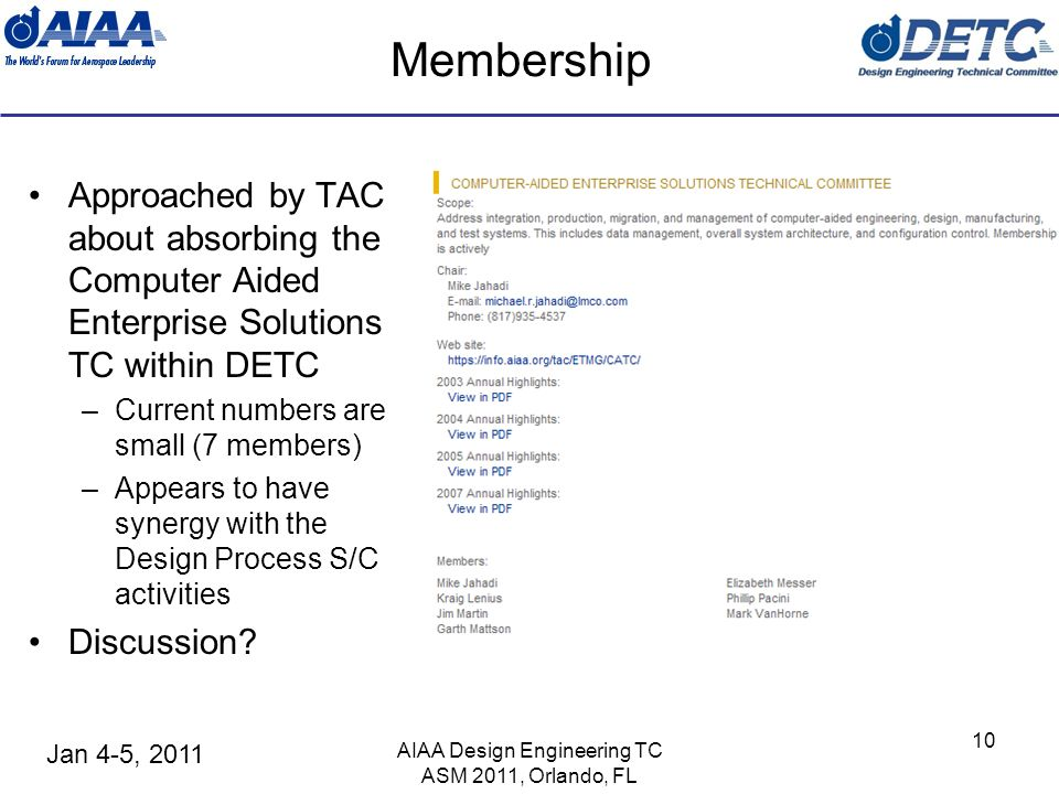 Jan 4-5, 2011 Membership Approached by TAC about absorbing the Computer Aided Enterprise Solutions TC within DETC –Current numbers are small (7 members) –Appears to have synergy with the Design Process S/C activities Discussion.