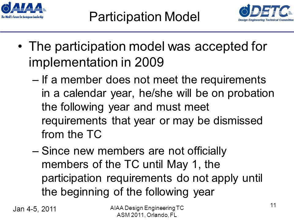 Jan 4-5, 2011 AIAA Design Engineering TC ASM 2011, Orlando, FL 11 Participation Model The participation model was accepted for implementation in 2009 –If a member does not meet the requirements in a calendar year, he/she will be on probation the following year and must meet requirements that year or may be dismissed from the TC –Since new members are not officially members of the TC until May 1, the participation requirements do not apply until the beginning of the following year