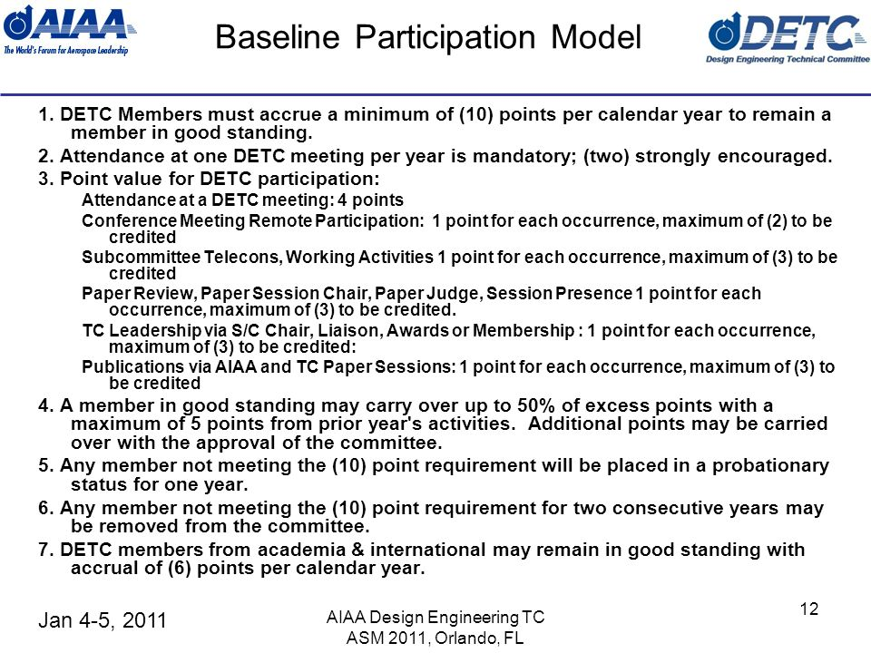 Jan 4-5, 2011 AIAA Design Engineering TC ASM 2011, Orlando, FL 12 Baseline Participation Model 1.