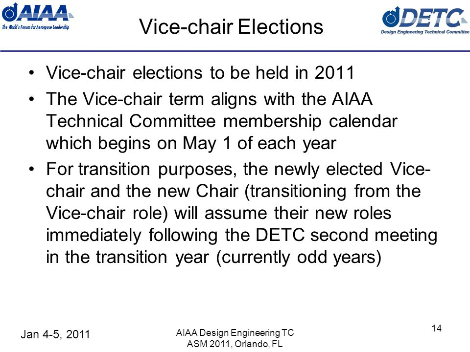 Jan 4-5, 2011 Vice-chair Elections Vice-chair elections to be held in 2011 The Vice-chair term aligns with the AIAA Technical Committee membership cal