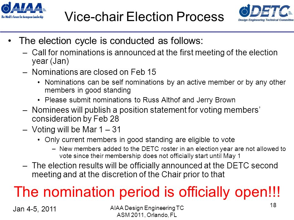 Jan 4-5, 2011 Vice-chair Election Process The election cycle is conducted as follows: –Call for nominations is announced at the first meeting of the e