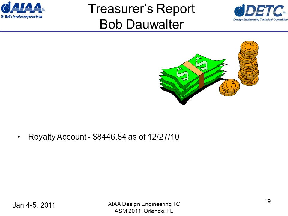 Jan 4-5, 2011 AIAA Design Engineering TC ASM 2011, Orlando, FL 19 Treasurers Report Bob Dauwalter Royalty Account - $8446.84 as of 12/27/10
