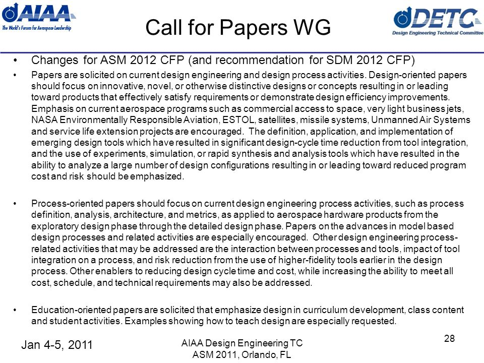 Jan 4-5, 2011 AIAA Design Engineering TC ASM 2011, Orlando, FL 28 Call for Papers WG Changes for ASM 2012 CFP (and recommendation for SDM 2012 CFP) Pa