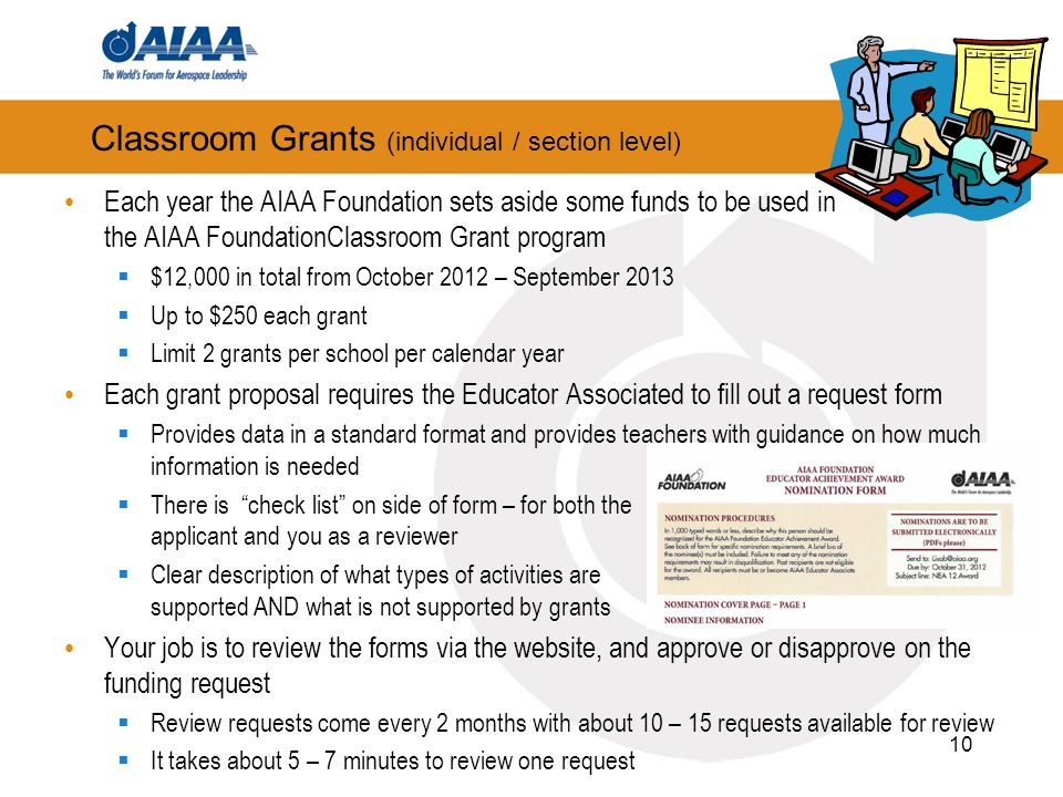 Classroom Grants (individual / section level) 10 Each year the AIAA Foundation sets aside some funds to be used in the AIAA FoundationClassroom Grant program $12,000 in total from October 2012 – September 2013 Up to $250 each grant Limit 2 grants per school per calendar year Each grant proposal requires the Educator Associated to fill out a request form Provides data in a standard format and provides teachers with guidance on how much information is needed There is check list on side of form – for both the applicant and you as a reviewer Clear description of what types of activities are supported AND what is not supported by grants Your job is to review the forms via the website, and approve or disapprove on the funding request Review requests come every 2 months with about 10 – 15 requests available for review It takes about 5 – 7 minutes to review one request