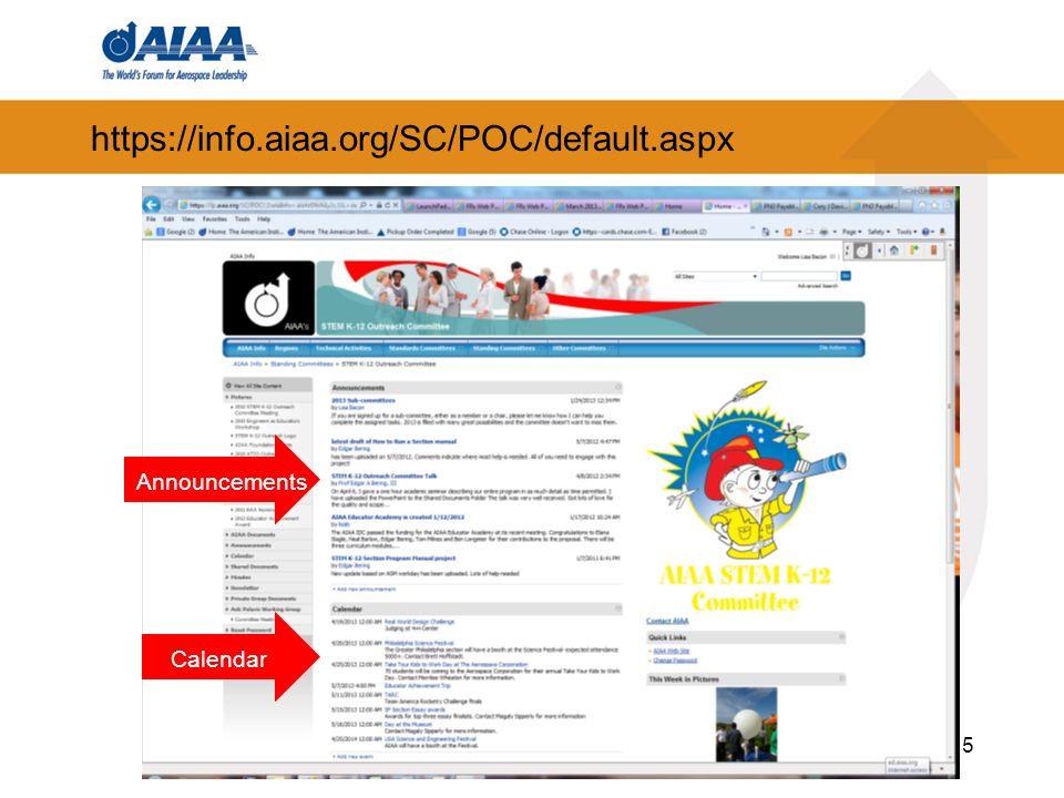 https://info.aiaa.org/SC/POC/default.aspx 5 Announcements Calendar