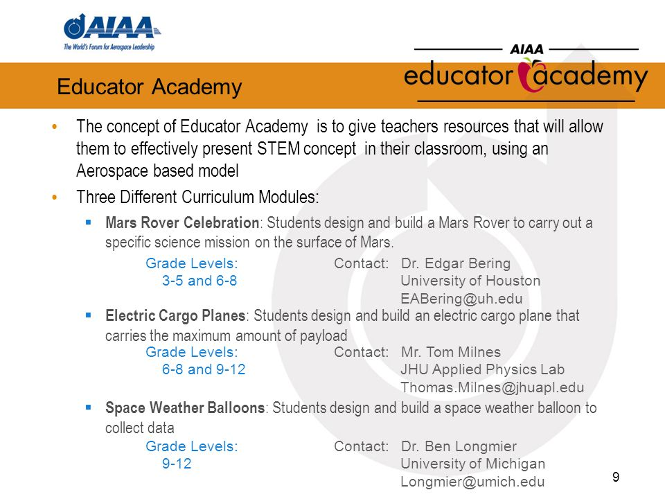 Educator Academy The concept of Educator Academy is to give teachers resources that will allow them to effectively present STEM concept in their classroom, using an Aerospace based model Three Different Curriculum Modules: Mars Rover Celebration : Students design and build a Mars Rover to carry out a specific science mission on the surface of Mars.