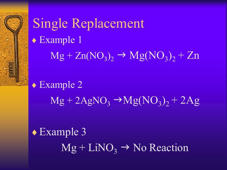 Single Replacement Example 1 Mg + Zn(NO 3 ) 2 Mg(NO 3 ) 2 + Zn Example 2 Mg + 2AgNO 3 Mg(NO 3 ) 2 + 2Ag Example 3 Mg + LiNO 3 No Reaction