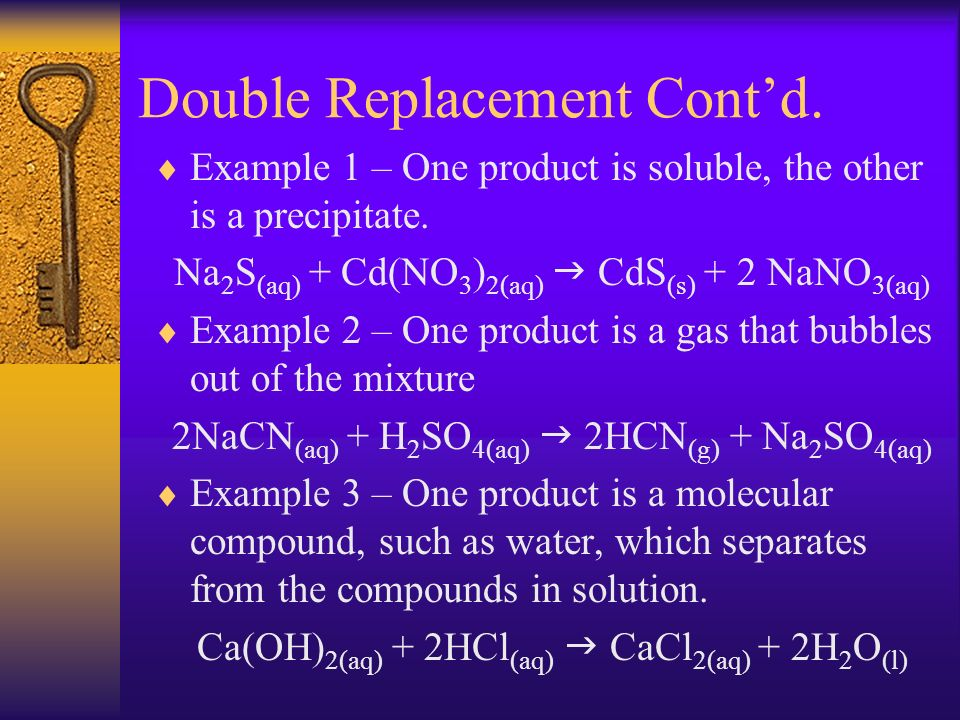 Double Replacement Contd. Example 1 – One product is soluble, the other is a precipitate. Na 2 S (aq) + Cd(NO 3 ) 2(aq) CdS (s) + 2 NaNO 3(aq) Example