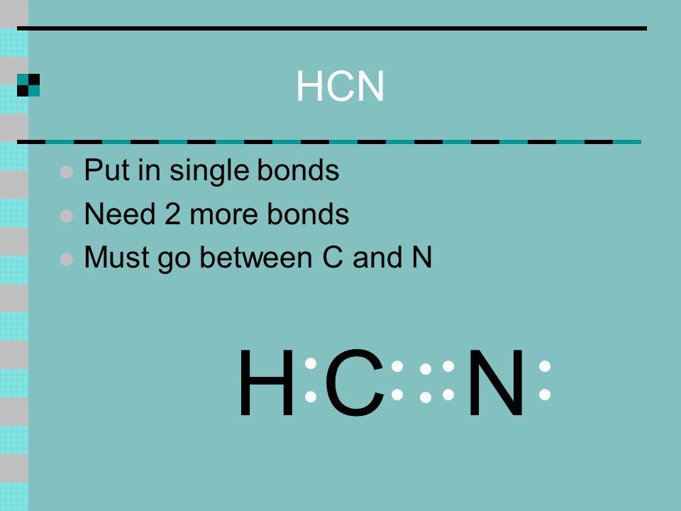HCN l Put in single bonds l Need 2 more bonds l Must go between C and N NHC