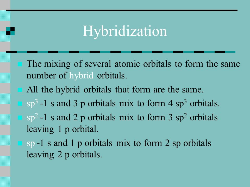 Hybridization The mixing of several atomic orbitals to form the same number of hybrid orbitals.