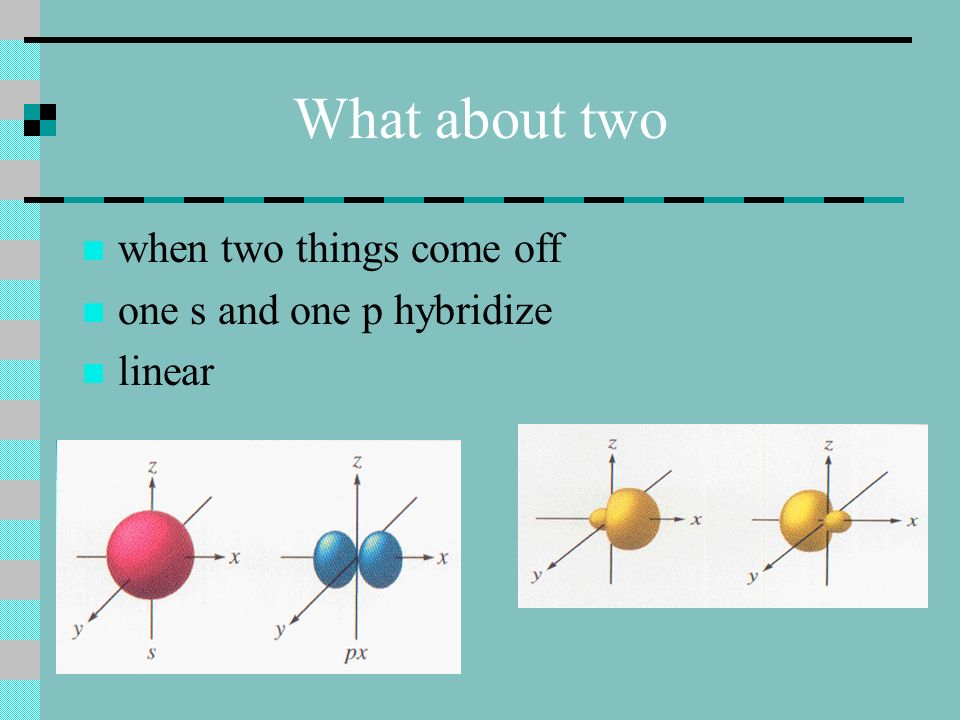 What about two when two things come off one s and one p hybridize linear