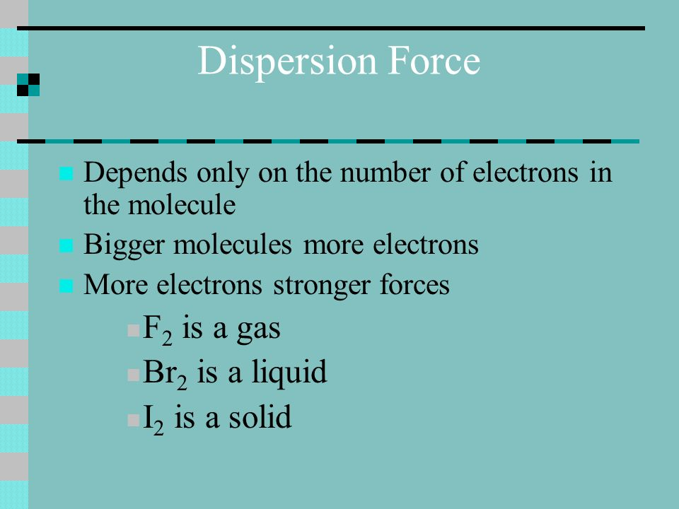 Dispersion Force Depends only on the number of electrons in the molecule Bigger molecules more electrons More electrons stronger forces F 2 is a gas Br 2 is a liquid I 2 is a solid