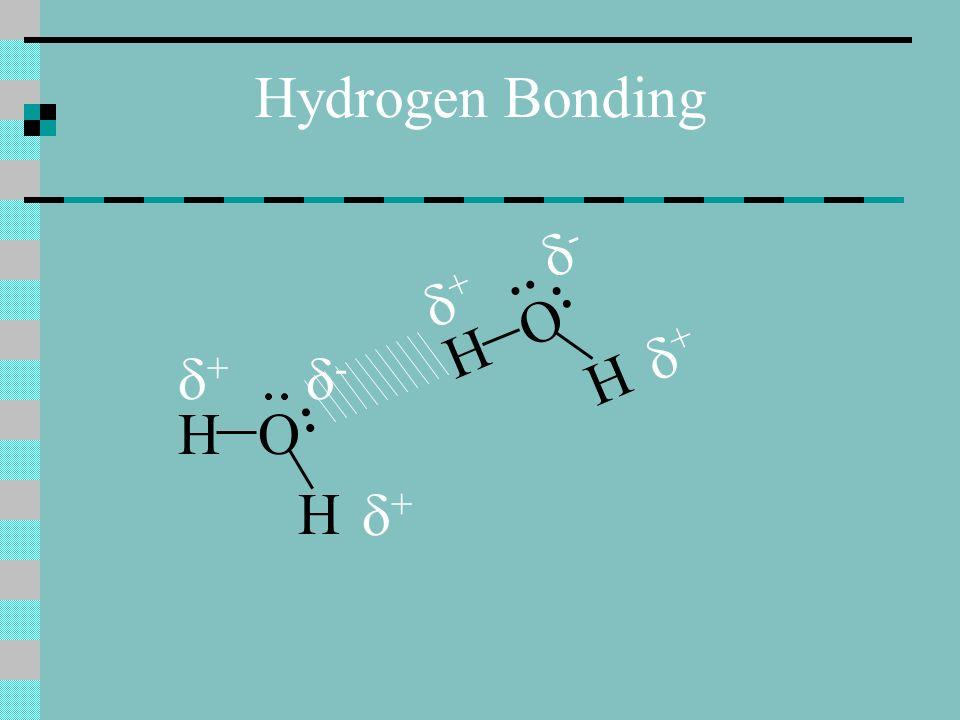 Hydrogen Bonding H H O + - + H H O + - +