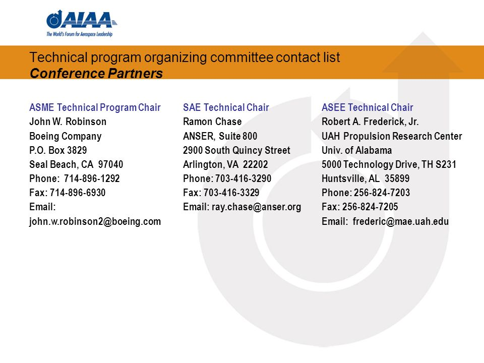 Technical program organizing committee contact list Conference Partners ASME Technical Program Chair John W. Robinson Boeing Company P.O. Box 3829 Sea
