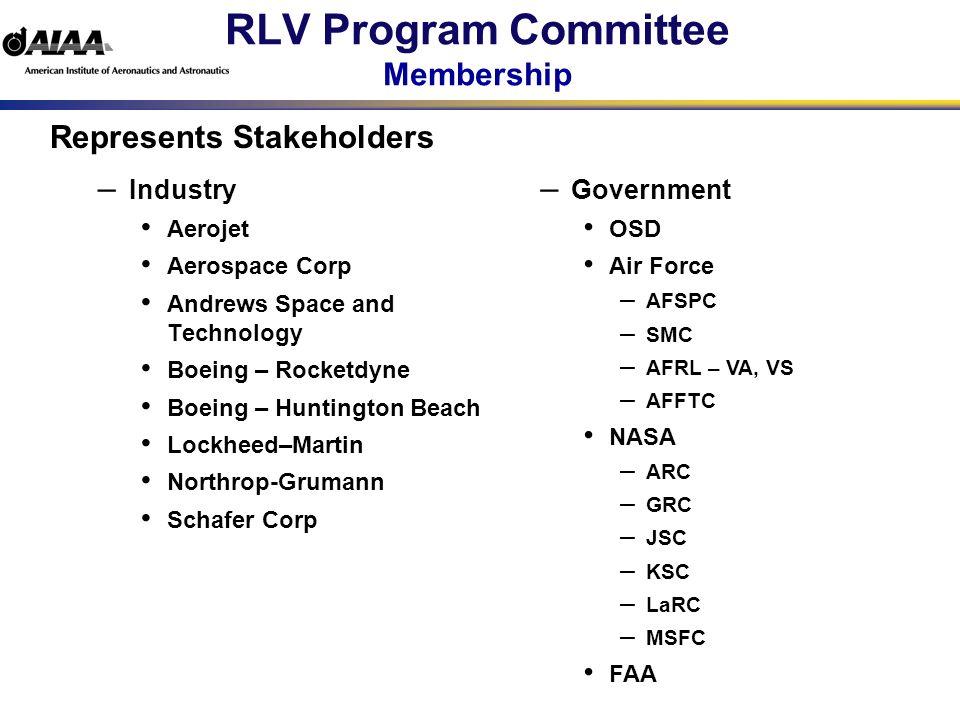 RLV Program Committee Membership – Industry Aerojet Aerospace Corp Andrews Space and Technology Boeing – Rocketdyne Boeing – Huntington Beach Lockheed–Martin Northrop-Grumann Schafer Corp – Government OSD Air Force – AFSPC – SMC – AFRL – VA, VS – AFFTC NASA – ARC – GRC – JSC – KSC – LaRC – MSFC FAA Represents Stakeholders