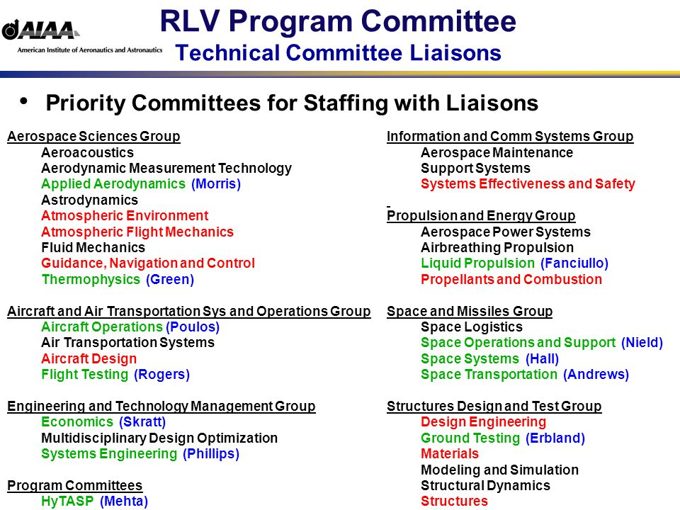 RLV Program Committee Subcommittees Members must serve on at least one subcommittee Subcommittees – Steering – Conferences – Policy and Advocacy – Communications