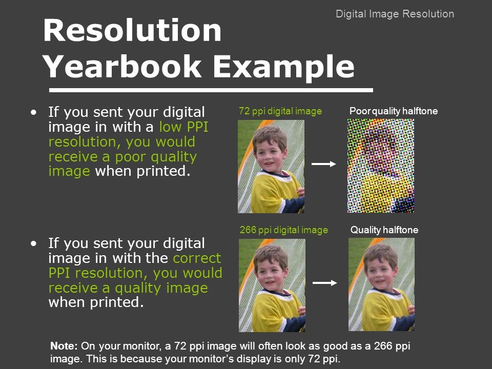 Digital Image Resolution If you sent your digital image in with a low PPI resolution, you would receive a poor quality image when printed.