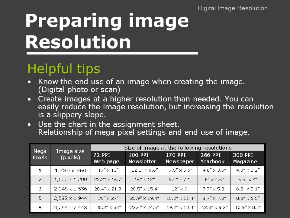 Digital Image Resolution Preparing image Resolution Helpful tips Know the end use of an image when creating the image.