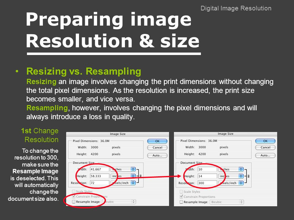 Digital Image Resolution Resizing vs.
