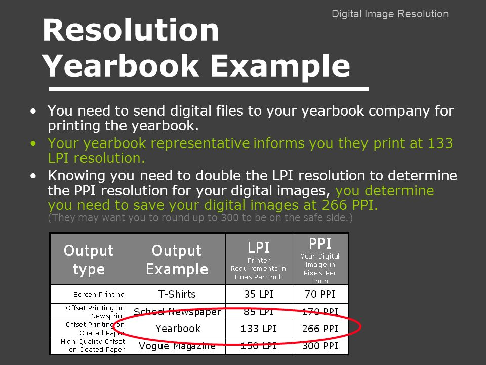Digital Image Resolution You need to send digital files to your yearbook company for printing the yearbook.