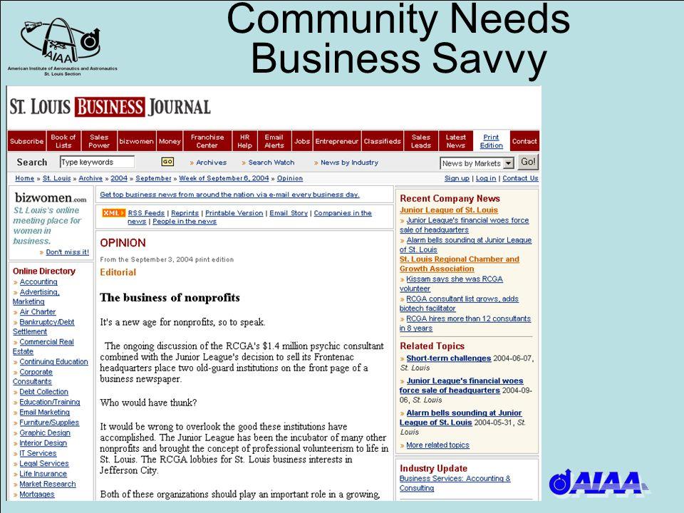 Community Needs Business Savvy