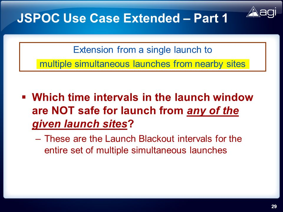 29 JSPOC Use Case Extended – Part 1 Which time intervals in the launch window are NOT safe for launch from any of the given launch sites.