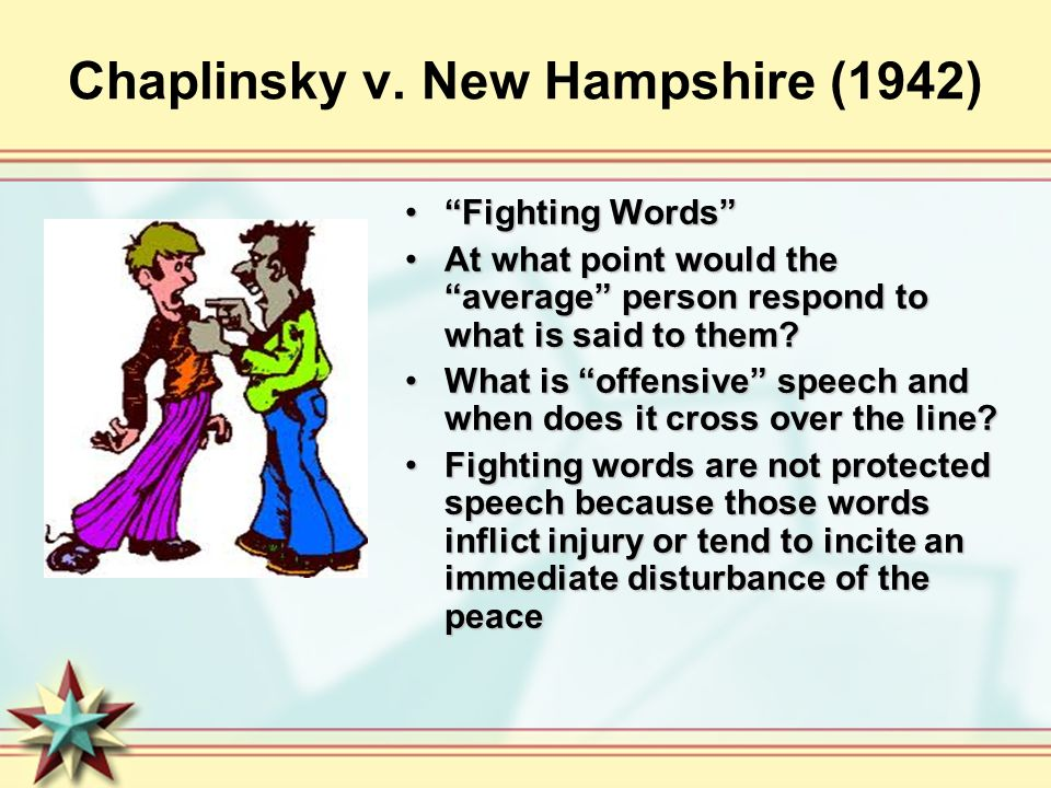 Chaplinsky v. New Hampshire (1942) Fighting WordsFighting Words At what point would the average person respond to what is said to them?At what point w