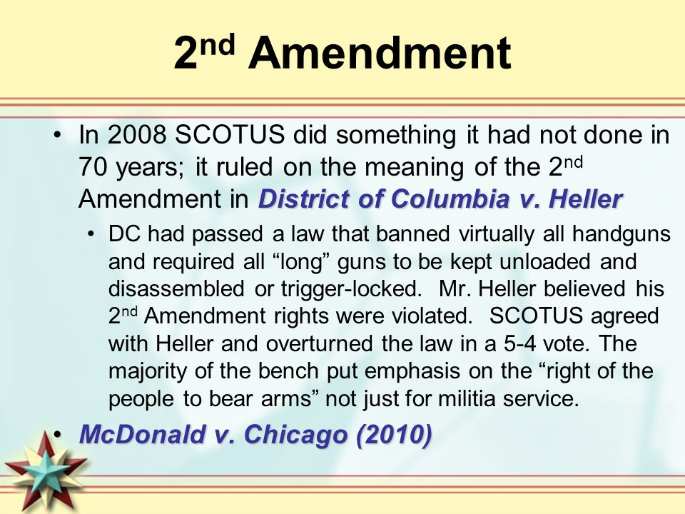 2 nd Amendment District of Columbia v.