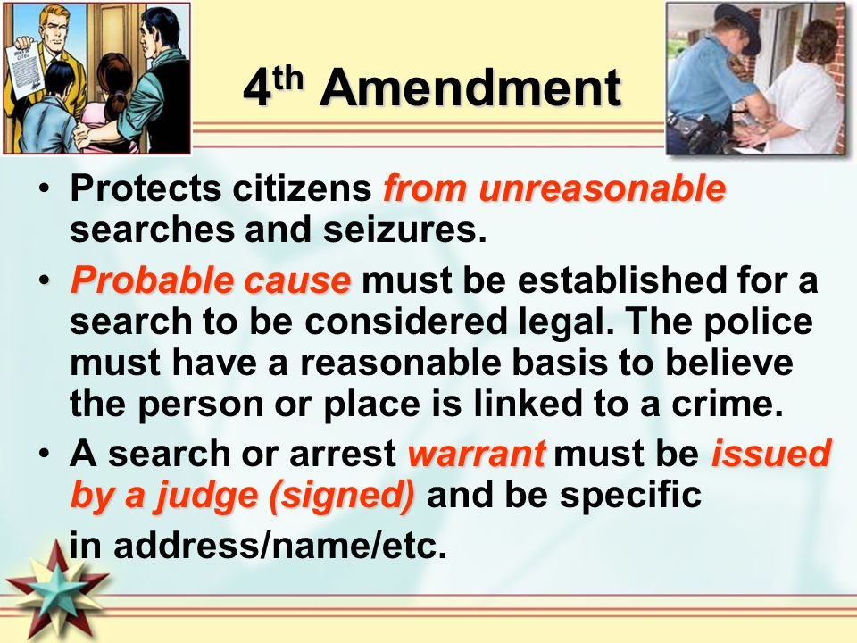 4 th Amendment from unreasonableProtects citizens from unreasonable searches and seizures.