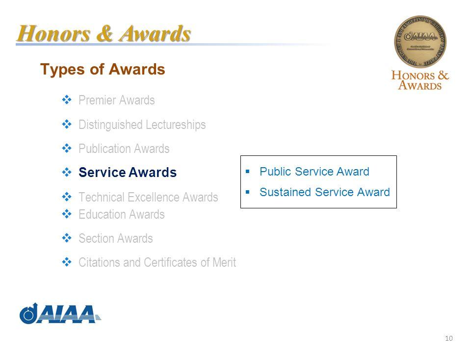 10 Types of Awards Premier Awards Distinguished Lectureships Publication Awards Service Awards Technical Excellence Awards Education Awards Section Aw