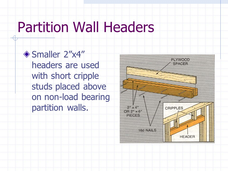 Partition Wall Headers Smaller 2x4 headers are used with short cripple studs placed above on non-load bearing partition walls.