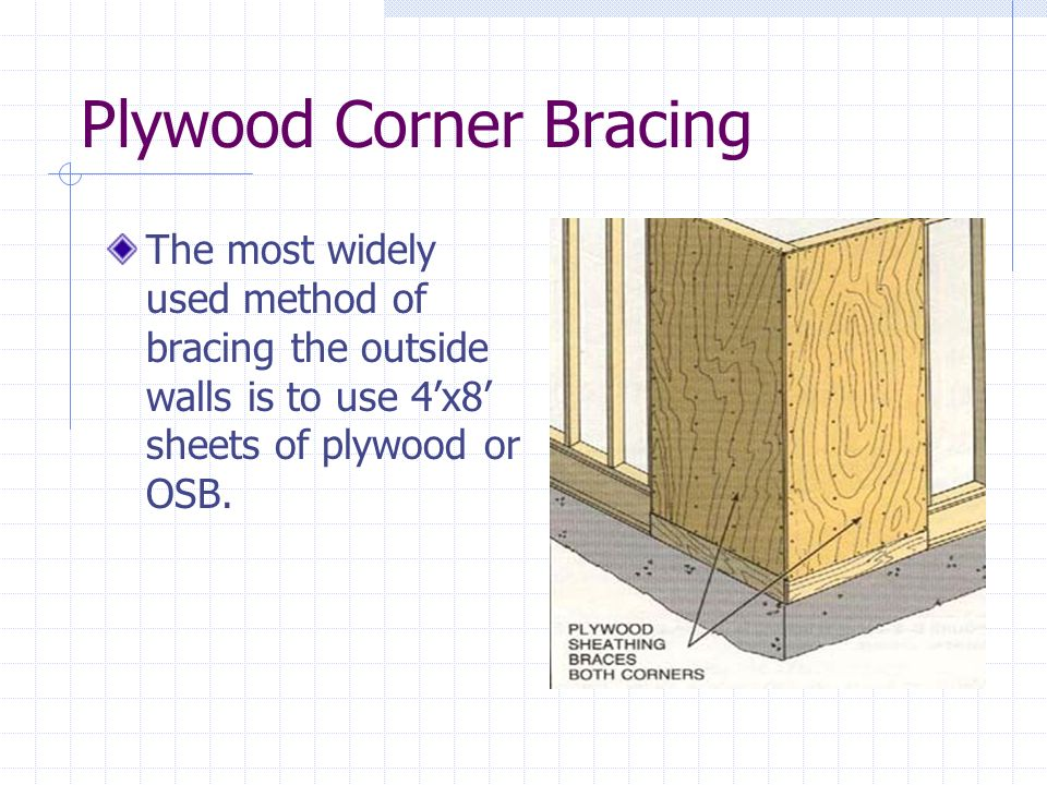 Plywood Corner Bracing The most widely used method of bracing the outside walls is to use 4x8 sheets of plywood or OSB.