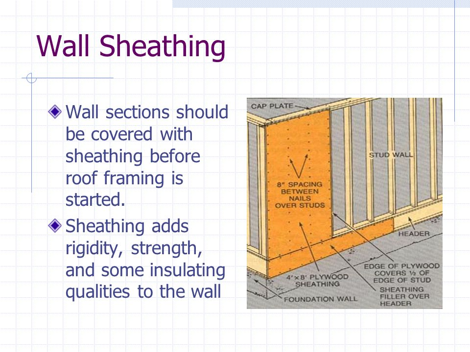 Wall Sheathing Wall sections should be covered with sheathing before roof framing is started. Sheathing adds rigidity, strength, and some insulating q