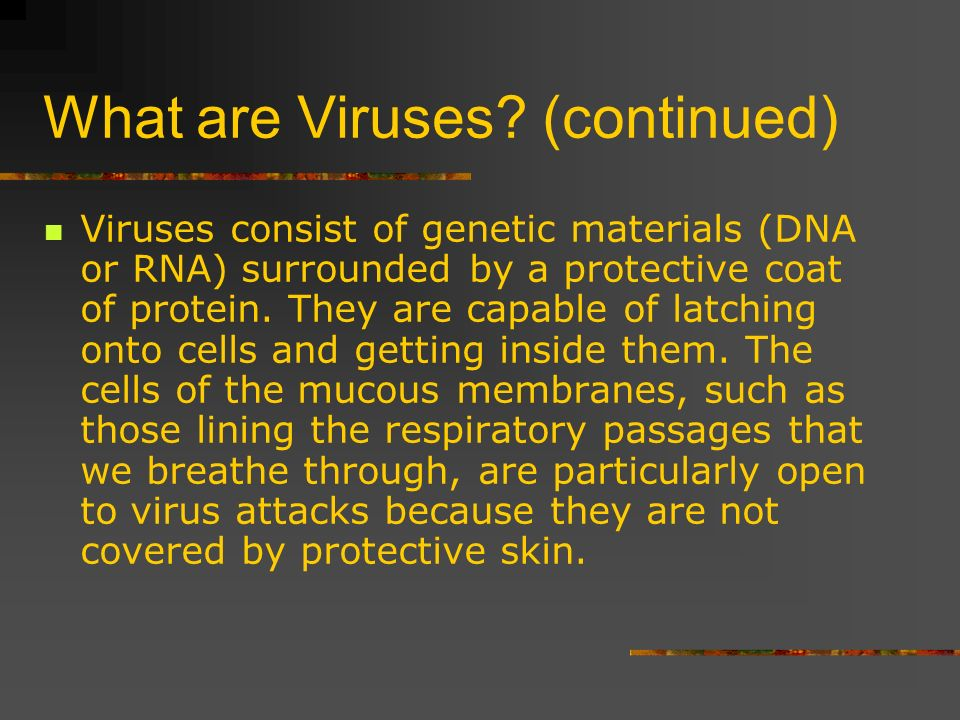 What are Viruses? (continued) Viruses consist of genetic materials (DNA or RNA) surrounded by a protective coat of protein. They are capable of latchi