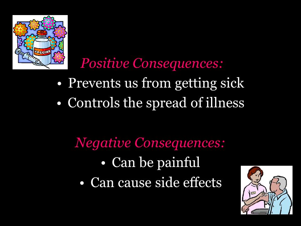 Positive Consequences: Prevents us from getting sick Controls the spread of illness Negative Consequences: Can be painful Can cause side effects