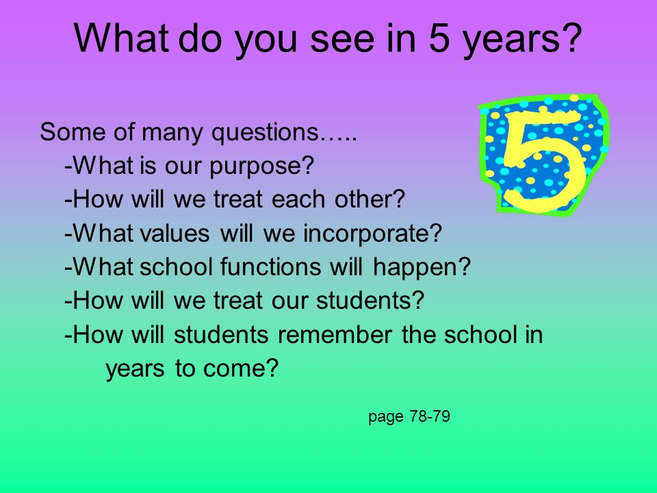 What do you see in 5 years? Some of many questions….. -What is our purpose? -How will we treat each other? -What values will we incorporate? -What sch