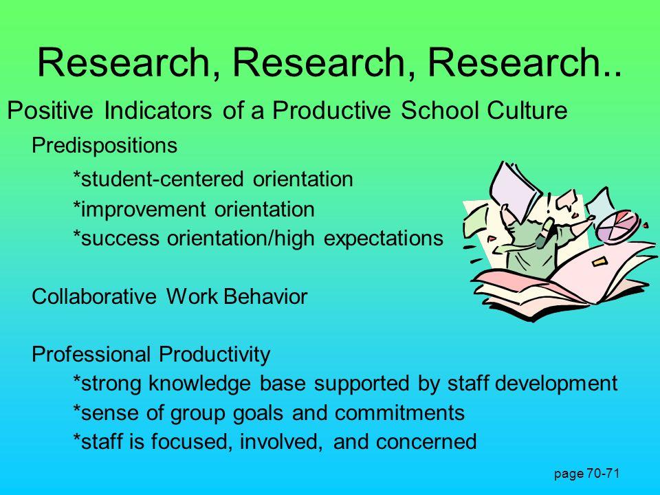 Research, Research, Research.. Positive Indicators of a Productive School Culture Predispositions *student-centered orientation *improvement orientati