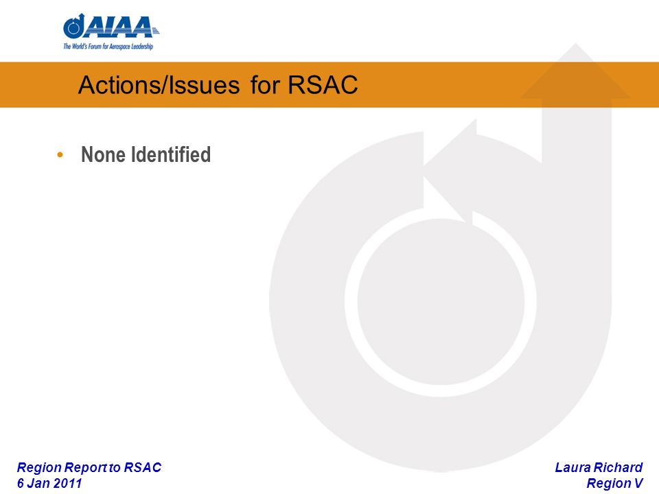 Laura Richard Region V Region Report to RSAC 6 Jan 2011 Actions/Issues for RSAC None Identified