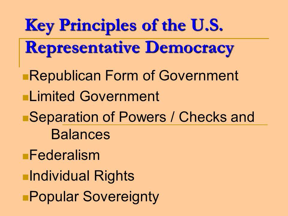 Key Principles of the U.S. Representative Democracy Republican Form of Government Limited Government Separation of Powers / Checks and Balances Federa