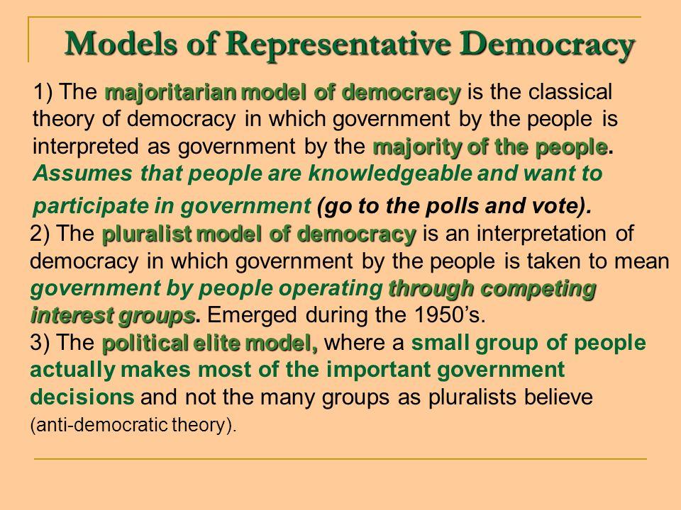 Models of Representative Democracy majoritarian model of democracy majority of the people 1) The majoritarian model of democracy is the classical theo