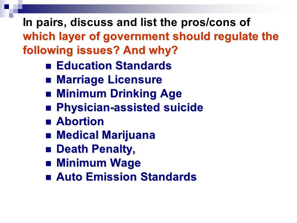 which layer of government should regulate the following issues.