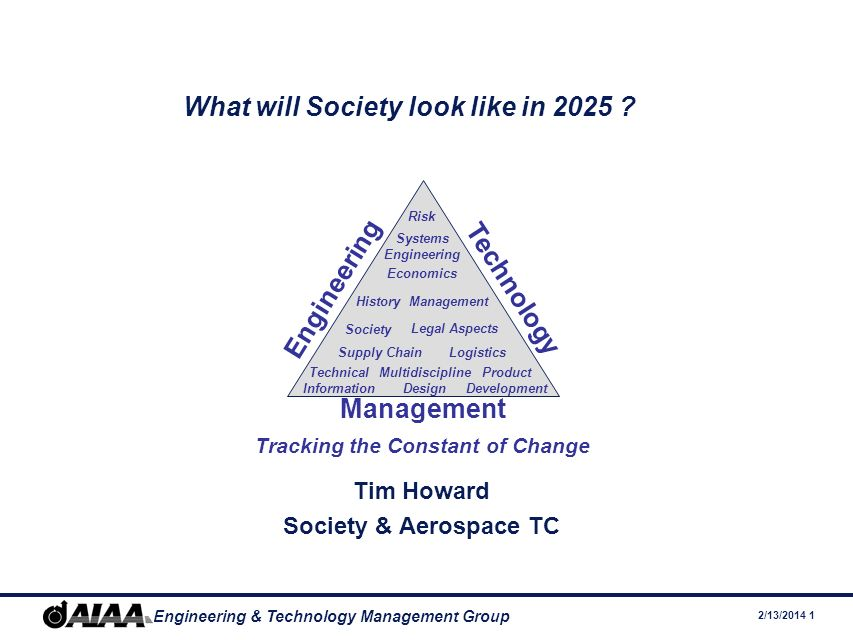 2/13/2014 1 Engineering & Technology Management Group What will Society look like in 2025 .