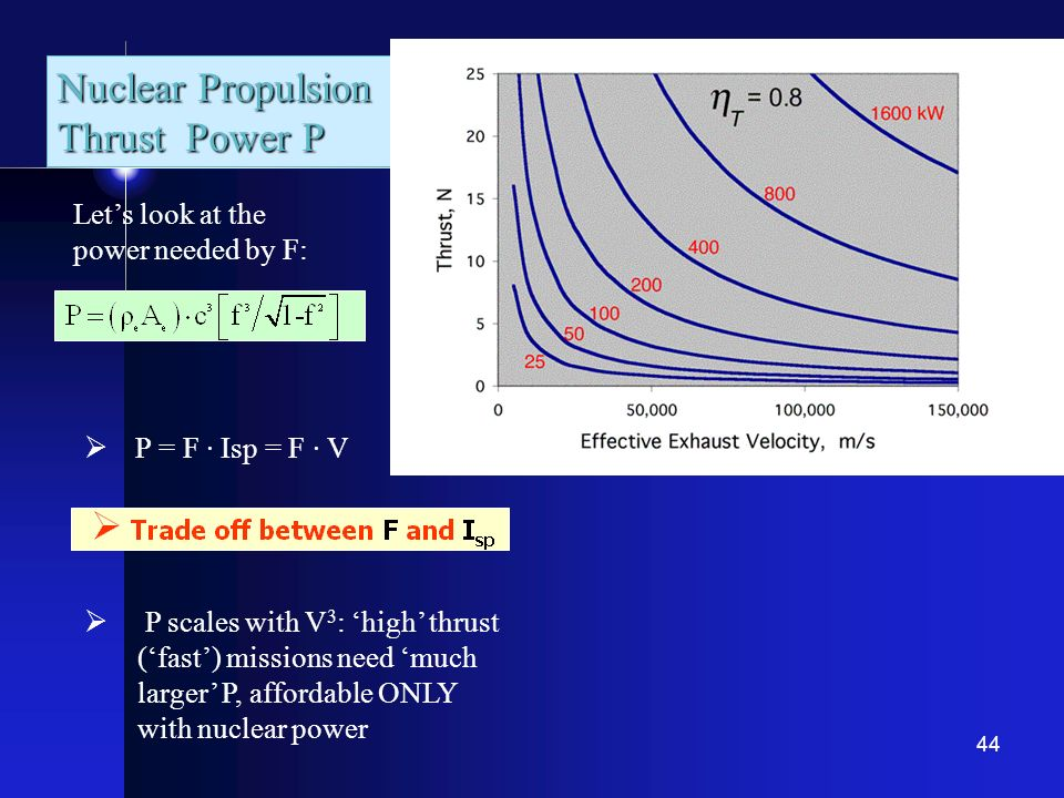 44 Nuclear Propulsion Thrust Power P Lets look at the power needed by F: P = F · Isp = F · V P scales with V 3 : high thrust (fast) missions need much