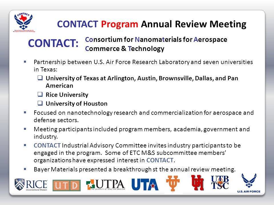 CONTACT Program Annual Review Meeting Partnership between U.S.