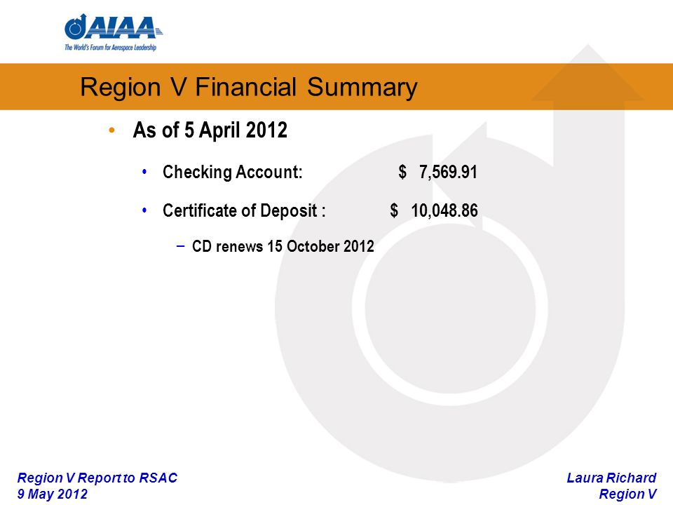 Laura Richard Region V Region V Report to RSAC 9 May 2012 Region V Financial Summary As of 5 April 2012 Checking Account:$ 7, Certificate of Deposit : $ 10, – CD renews 15 October 2012