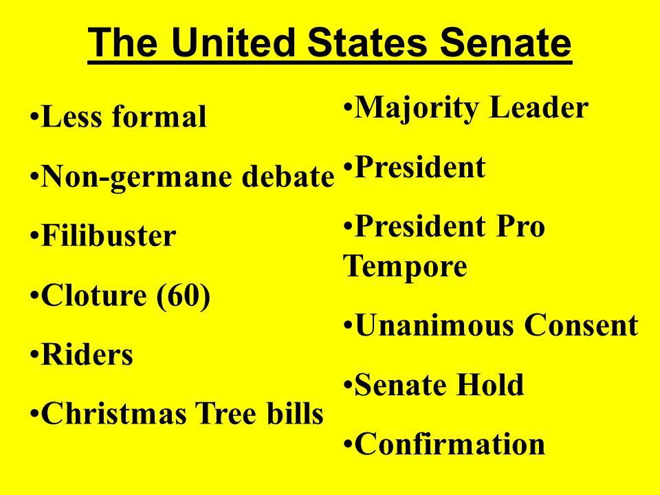 The United States Senate Less formal Non-germane debate Filibuster Cloture (60) Riders Christmas Tree bills Majority Leader President President Pro Tempore Unanimous Consent Senate Hold Confirmation