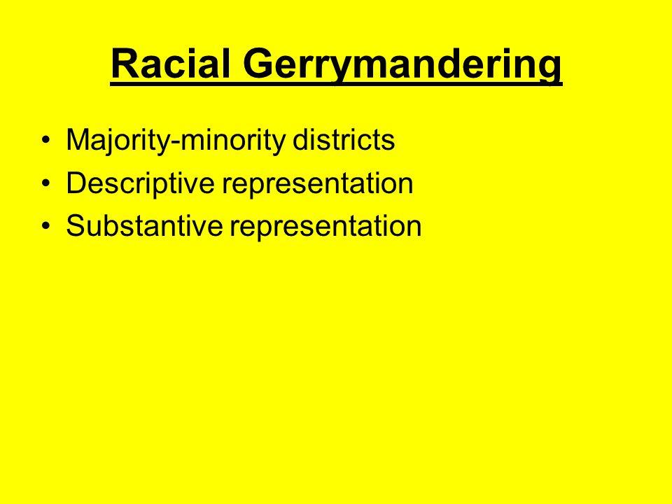 Racial Gerrymandering Majority-minority districts Descriptive representation Substantive representation