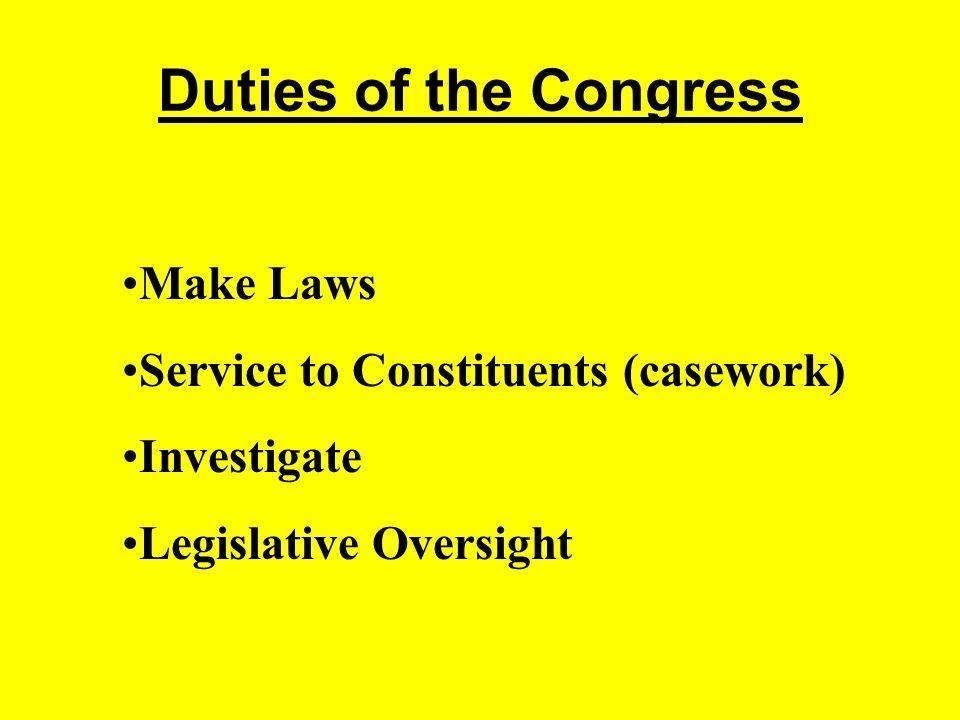 Duties of the Congress Make Laws Service to Constituents (casework) Investigate Legislative Oversight